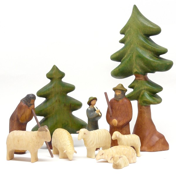 Buntspechte Holzspielfiguren Hirten mit Schafe