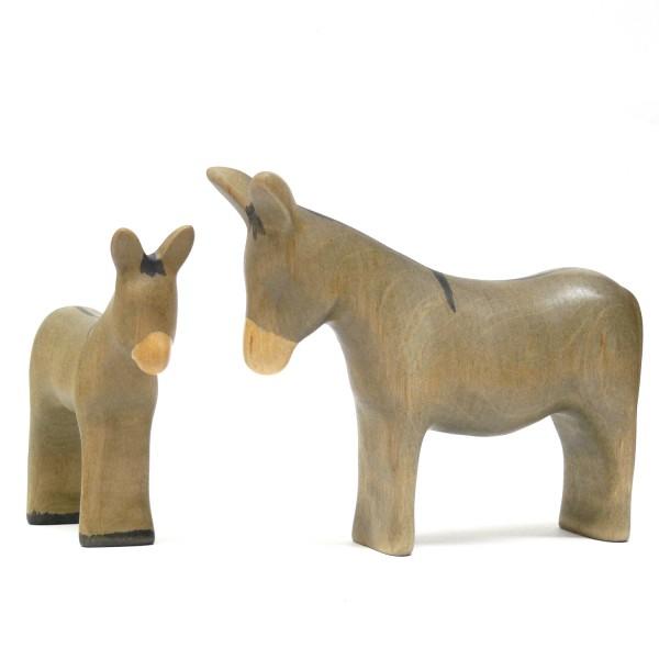 Holz Eselfohlen und Esel von buntspechte-holzspielfiguren.de