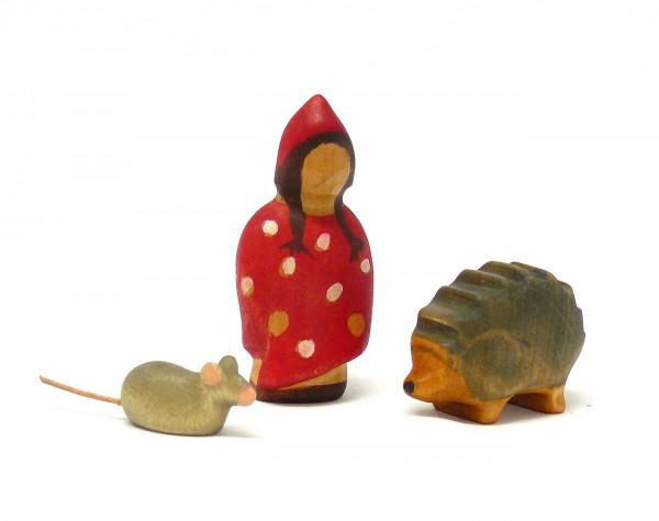 Zwergenmädchen mit Igel und Maus