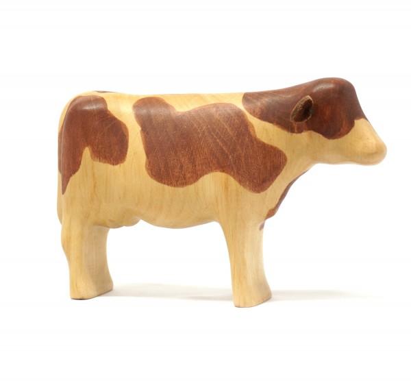 braungefleckte Kuh aus Holz ohne Horn buntspechte-holzspielfiguren.de